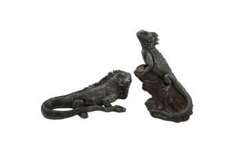 Australian Ceramic 32cm & 30cm Water Dragon Sculpture Set Home/Garden Decor
