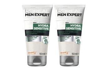 2x Loreal Paris 150ml Men Expert Hydra Sensitive Skin Face Wash Facial Cleanser