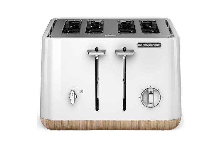 Morphy Richards 240005 Scandi White Aspect 4 Slice Toaster w/ Wooden Trim/Tray
