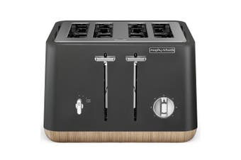 Morphy Richards 240006 Scandi Titanium Aspect 4 Slice Toaster w/ Wooden Trim