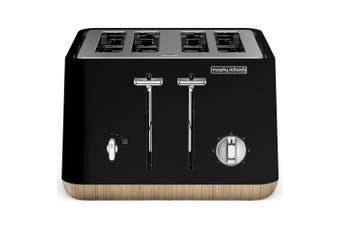 Morphy Richards 240007 Scandi Black Aspect 4 Slice Toaster w/ Wooden Trim/Tray