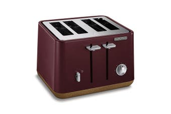Morphy Richards 240017 Aspect 4 Slice Slot Toaster Cork Stainless Steel Maroon
