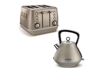 Morphy Richards 1880W Evoke Stainless Steel 4 Slice Toaster/1.5L Kettle Platinum