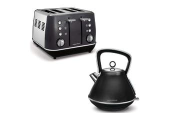 Morphy Richards Evoke Stainless Steel 4 Slice Toaster/1.5L Kettle Black/Charcoal