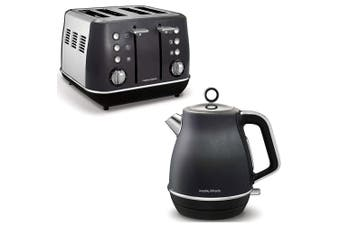 Morphy Richards Evoke Stainless Steel 4 Slice Toaster/1.5L Jug Kettle BLK/CHAR