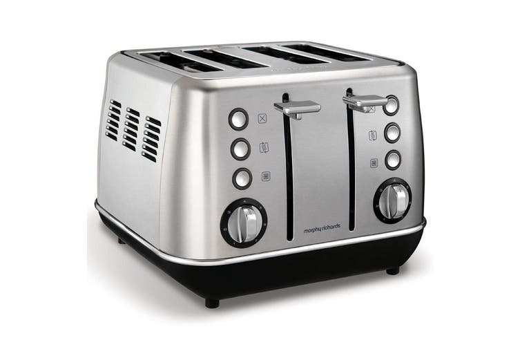 Morphy Richards 1880W Evoke Stainless Steel 4 Slice Toaster w Removable Tray SL
