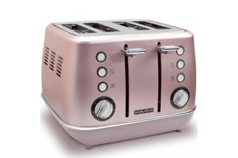 Morphy Richards 1880W Evoke Stainless Steel 4 Slice/Slots Toaster Rose Quartz