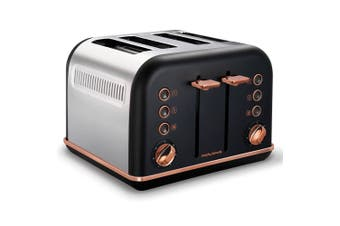 Morphy Richards 242107 Black Accents 4 Slice Toaster Rose Gold w/ Removable Tray