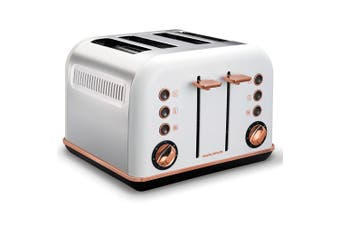 Morphy Richards 242108 White Accents 4 Slice Toaster Rose Gold w/ Removable Tray