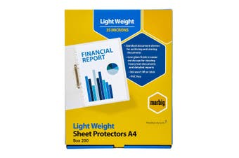 200pc Marbig Light Weight Plastic A4 Sheet Protectors Document Sleeves Clear