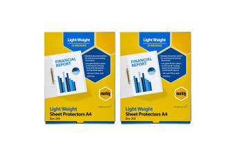 400pc Marbig Light Weight Plastic A4 Sheet Protectors Document Sleeves Clear
