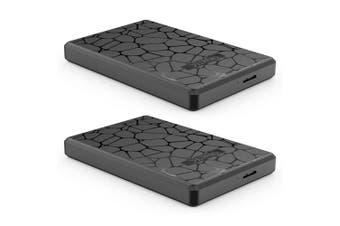 "2x Cruxtec SATA to USB 3.0 2.5"" HDD/SSD External Case Hard Drive Enclosure Black"
