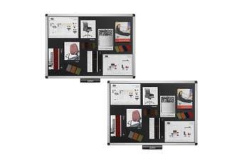 2PK Justick Electro Adhesion 90cm Bulletin/Notice Memo Board/Displays Office BLK