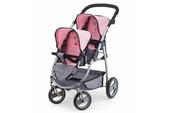 Bayer 73cm Twin Tandem Doll Pram/Stroller Pink & Grey 3y+ Kids/Toddler Toy