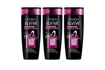 3x Loreal Paris 325ml Elvive Arginine Resist x3 Shampoo Anti Hair Fall Care