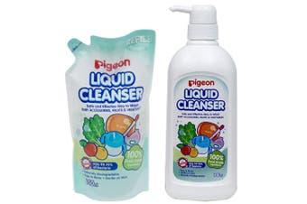 Pigeon 700ml Liquid Cleanser w/ 650mlRefill  for Baby Bottles/Food/Fruit/Veggies
