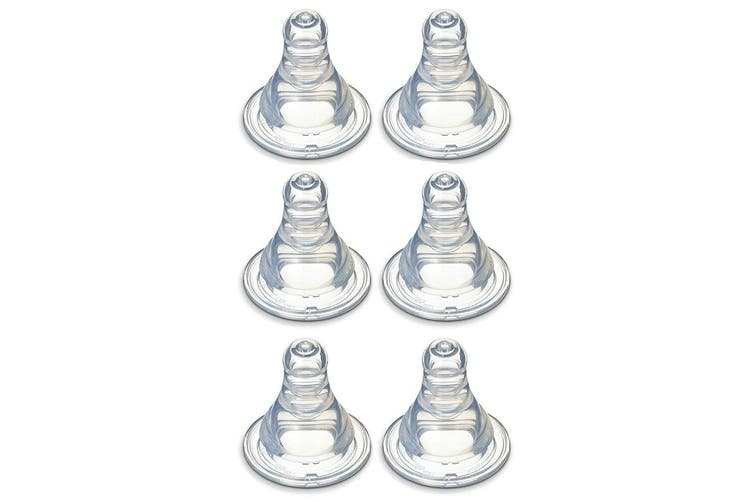 6x Pigeon Peristaltic Slim Neck Soft Silicone Teat Y 6-7m+ f/ Baby/Infant Bottle