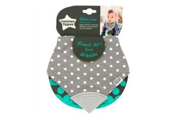 Tommee Tippee Teethe N Chew Bandana 100% Cotton Bib f/ Baby/Infant 3m+ w/Teether