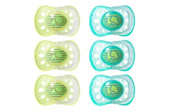 6pc Tommee Tippee Soft Rim Latex Soothers/Pacifiers/Dummy 6-18m Newborn/Babies