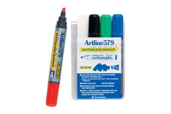 4pc Artline 579 5mm Chisel Nib Office Whiteboard Markers Assorted Colours Wallet