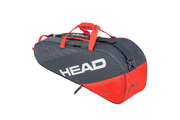 HEAD Elite 6R Combi 75cm Carry Sports Tennis Bag for Racquet/Racket Grey/Orange