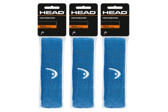 3PK Head Sweat Absorption Sports/Tennis/Squash/Cycling Headband/Head Band Blue