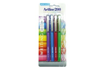 4pc Artline 200 Fine 0.4mm School Fineline Drawing/Writing Pen Assorted Colour