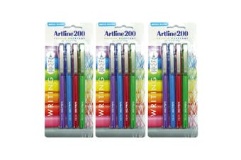 12pc Artline 200 Fine 0.4mm School Fineline Drawing/Writing Pen Assorted Colour