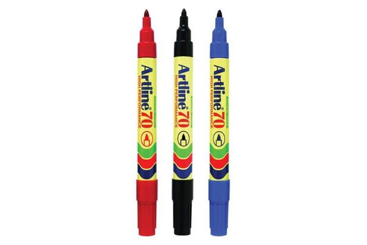 3pc Artline 70 Permanent Marker Office/School Assorted Colours 1.5mm Bullet Nib