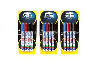 12pc Artline 700 Permanent Marker Work/School Assorted Colours 0.7mm Bullet Nib