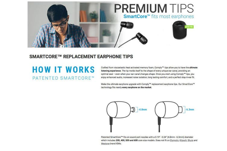 Comply Universal SmartCore Pro Earphone In-Ear Tips Replacement for Most Brand