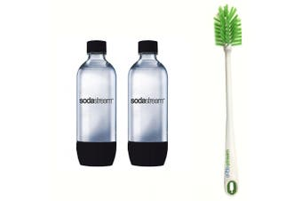 2PK SodaStream Carbonating Black 1L Bottle for Drink Maker w/Cleaning Brush