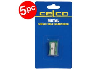 5PK Celco Metal Single Hole Manual Pencil Sharpener School/Office Stationery GRN