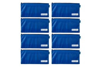 8x Celco 37cm School/Work Large Storage Zipper Pouch Pencil/Stationery Case Blue
