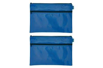 2PK Celco Nylon 2 Zipper Pencil Case Large School/Office Storage Organiser Blue