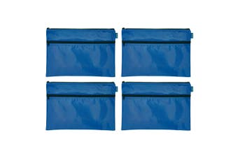 4PK Celco Nylon 2 Zipper Pencil Case Large School/Office Storage Organiser Blue
