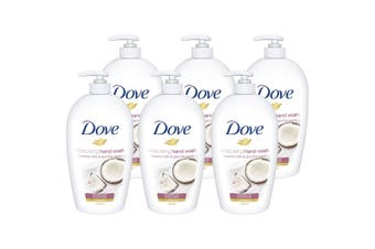 6x Dove 500ml Hand Wash Soft/Moisturising Coconut Milk/Jasmine f/ All Skin Types