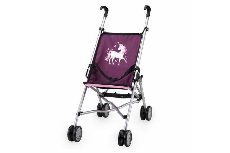 Bayer Doll Buggy Umbrella Style Dolls Plush Pram/Stroller Toy Purple w/ Unicorn