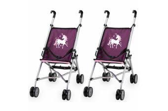 2x Bayer Doll Buggy Umbrella Style Dolls Plush Pram/Stroller Toy Purple Unicorn