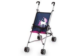 Bayer 55cm Doll Buggy Pram/Stroller Pretend Play/Kids Toy 3y+ Unicorn Navy/Pink