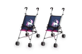 2PK Bayer 55cm Doll Buggy Pram/Stroller Pretend Play/Kids Toy 3y+ Unicorn Navy