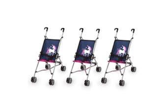 3PK Bayer 55cm Doll Buggy Pram/Stroller Pretend Play/Kids Toy 3y+ Unicorn Navy