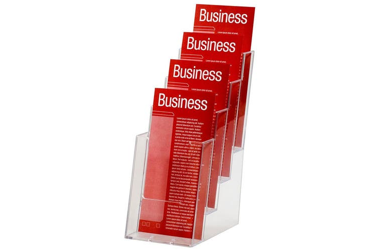 2x Esselte 1/3 A4 4 Tier Counter Brochure/Flyers Holder/Case Display f/ Office