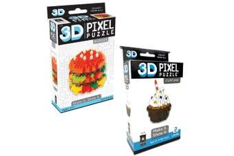 Bepuzzled 3D Pixel Puzzles/Building Blocks/Toys/Game Kids 12y+ Hamburger/Cupcake