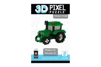 Bepuzzled 192pc+ 3D Pixel Puzzles/Building Blocks/Toys/Game Kids 12y+ Tractor