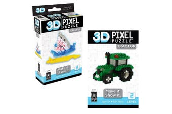 Bepuzzled 3D Pixel Puzzles/Building Blocks/Toys/Game Kids12y+ Tractor & Shark