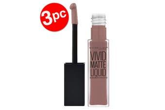 3PK Maybelline Vivid Matte Liquid Lipstick Long Lasting Lip Makeup 02 Grey Envy