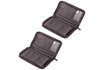 2x Go Travel Wallet for Passport/Documents/Cards Zipper Purse/Pouch Black