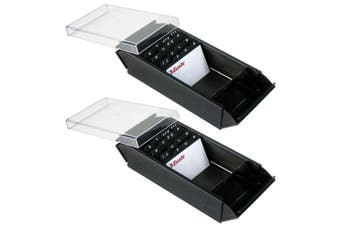 2PK Esselte Metal Desk Top Business Card Case/Storage/Organiser w/ A-Z Index BLK