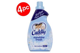 4PK Cuddly 1L Laundry/Clothes Fabric Softener Conditioner Concentrated Sunshine
